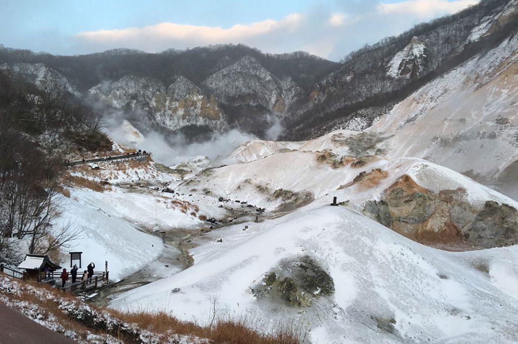 noboribetsu onsen hell valley in winter