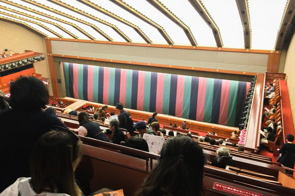 enjoying kabuki at the kabukiza theatre in tokyo