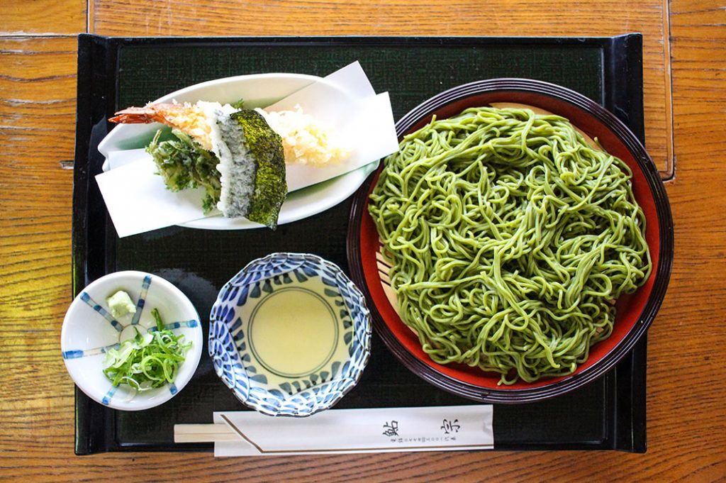 Green Tea soba in Uji, Kyoto