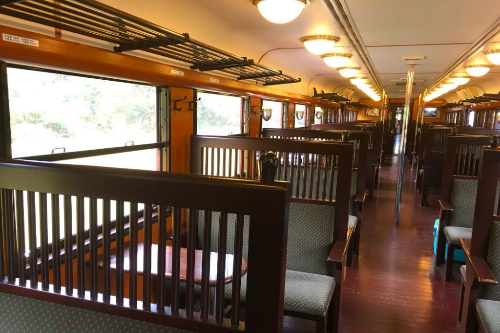 Departing on a weekday, the train was mostly empty during the journey to Yoshimatsu.