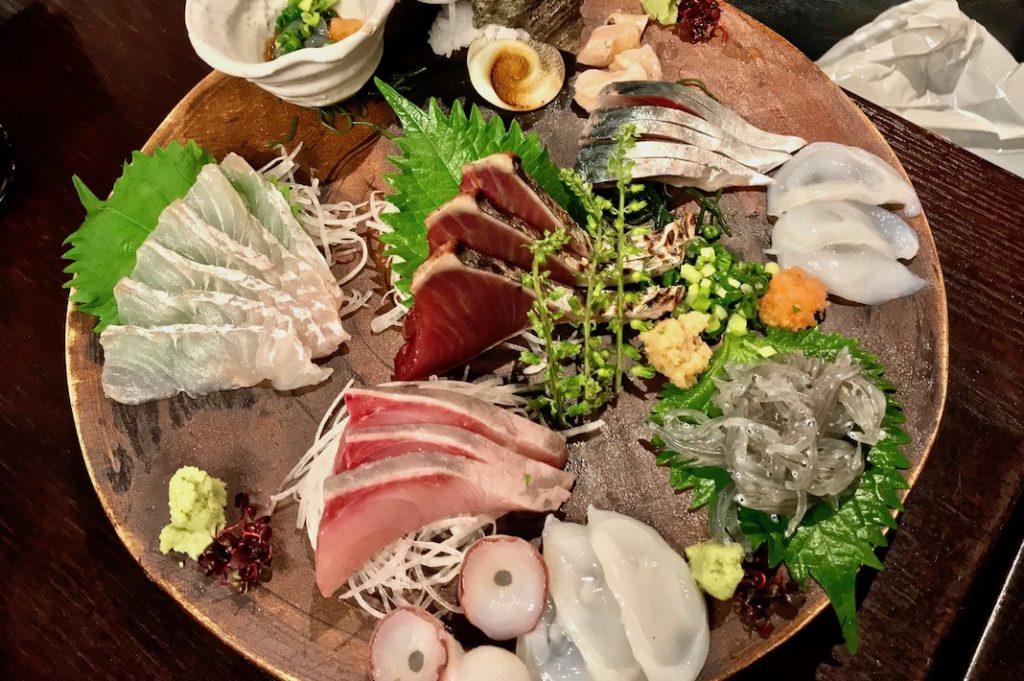 Sashimi moriawase is often found at seafood izakaya