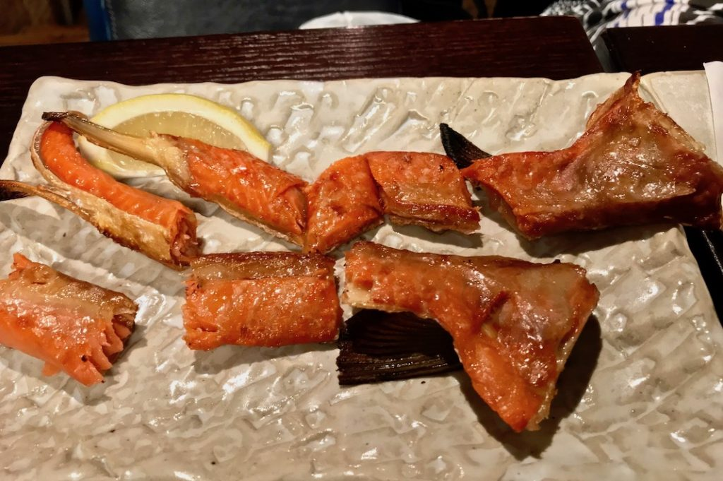 Grilled smoked salmon belly