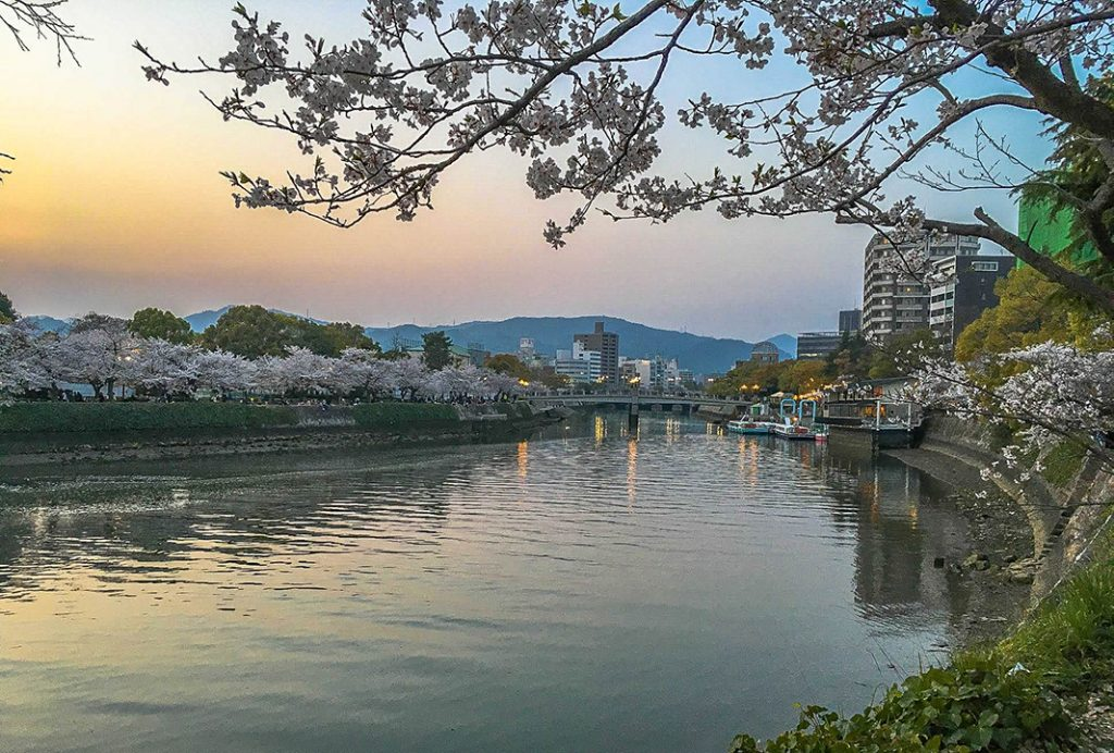 The Motoyasu River provides stunning views of Hirioshima, especially during cherry blossom season.