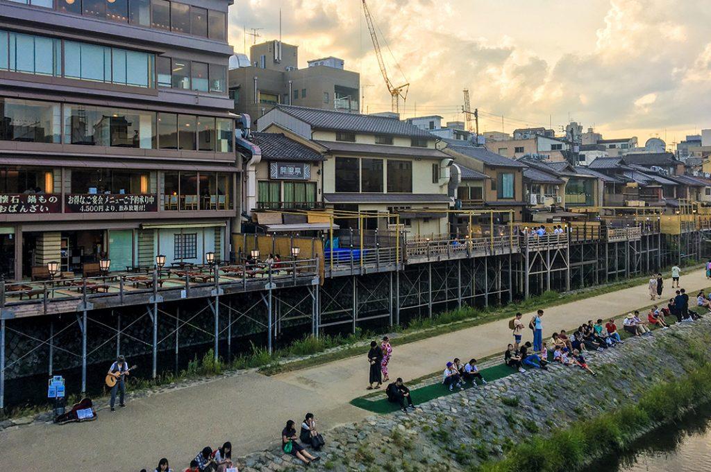 yuka dining, riverside dining, alfresco dining, kyoto river restaurants, kawadoko in kyoto