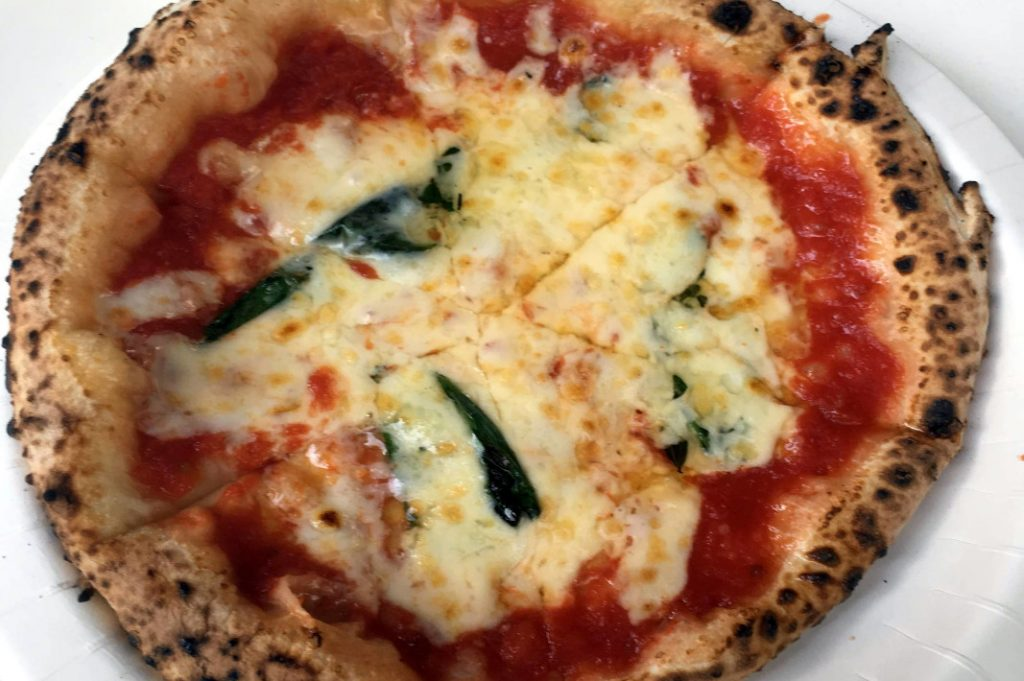 Pizza fresh from the oven.
