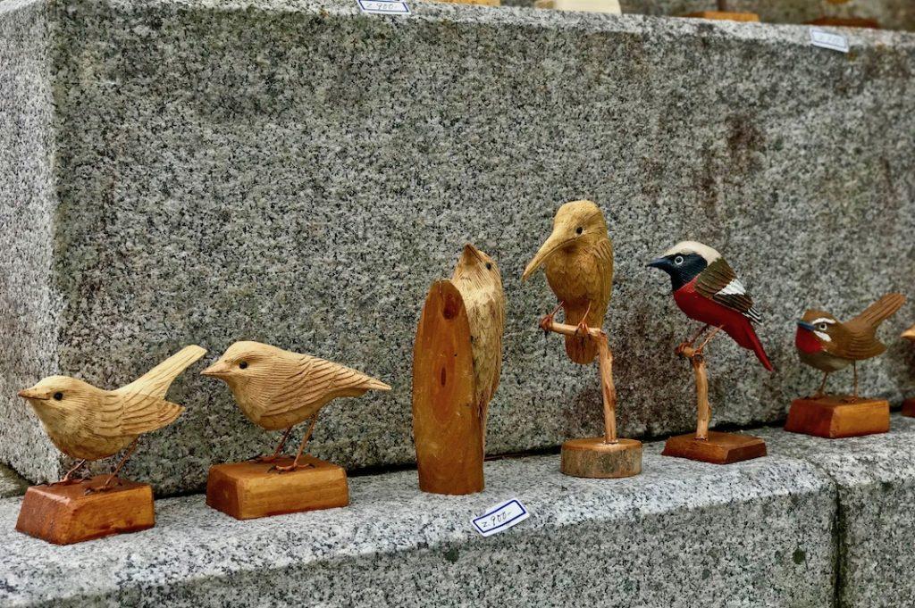 Hand-carved wooden birds