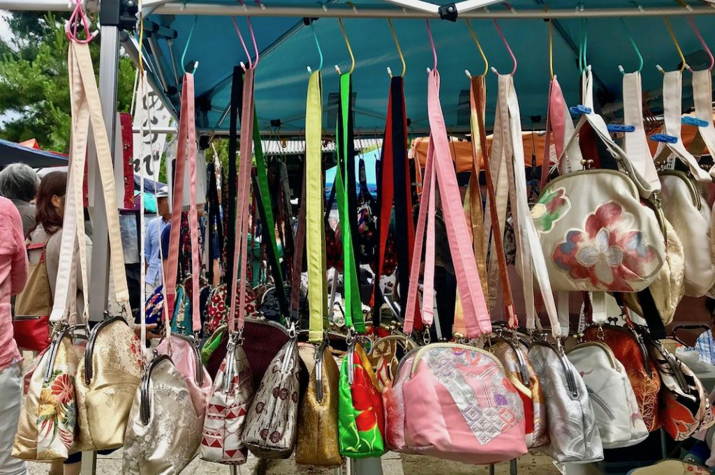 Bags made from kimono fabric at Chion-ji Handicraft Market in Kyoto.