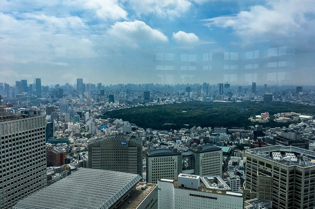 The walk from Shibuya to Shinjuku covers the distance of Yoyogi park in the center of the city.