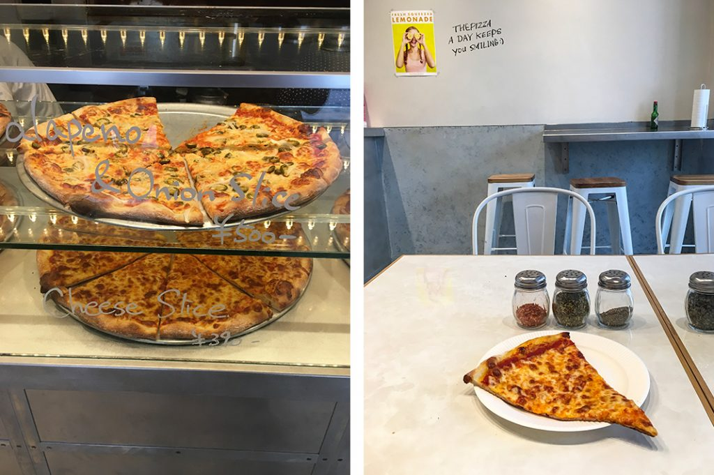 The pizza display and the plain cheese slice at The Pizza in Hiroo