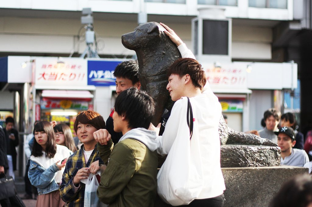 The walk through Love Hotel Hill and  Dogenzaka begins at Hachiko