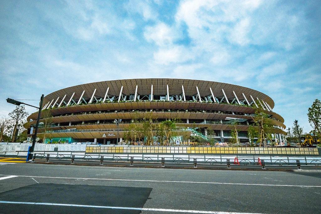 The New National Stadium designed by Kengo Kuma in Aoyama.