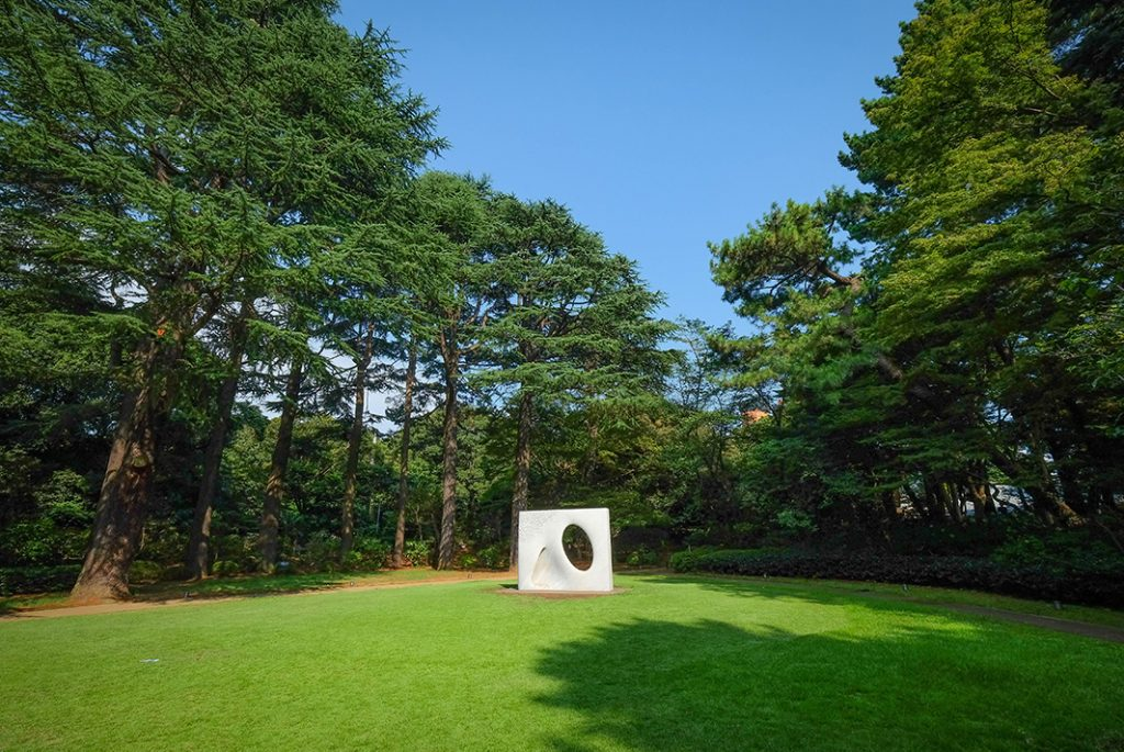 Art installations dot the grounds of the Teien Art Museum
