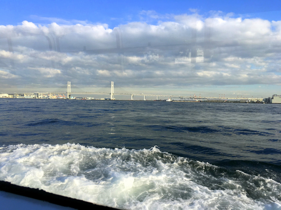 Passing through Tokyo Bay en route to Osanbashi Pier and the Yokohama International Passenger Terminal.