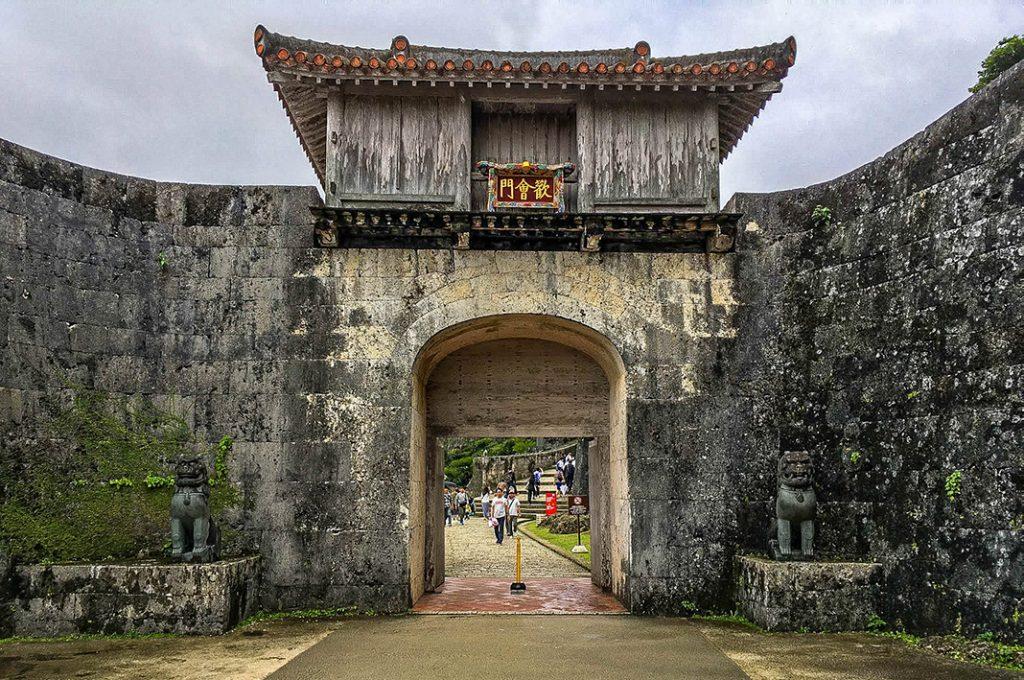 Two Okinawan Shisa stand guard outside an entrance to Shuri Castle.