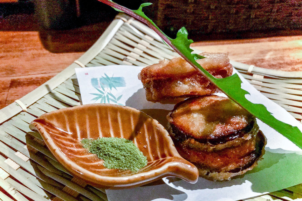 Eggplant and lotus-root chicken sandwiches –a surprise favourite at Oagari