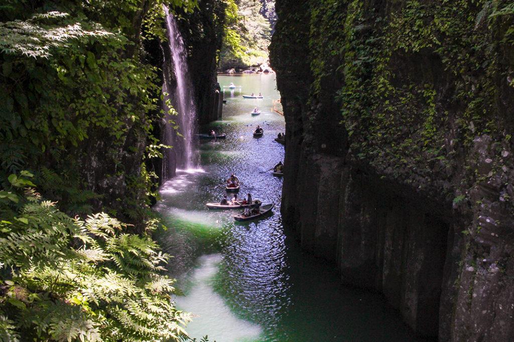 Rowing through Takachiho Gorge