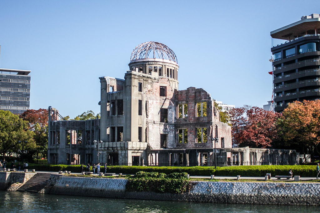 A view of the Atomic Bomb Dome in the Peace Memorial Park.