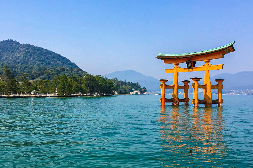The floating torii of Miyajima Shrine at high tide.