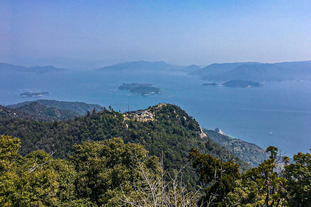 The view from the top of Mt. Misen overlooks the Seto Inland Sea.