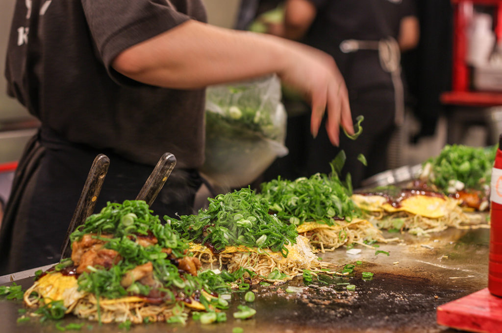Okonomimura is the place to go for Hiroshima style okonomiyaki in Hiroshima