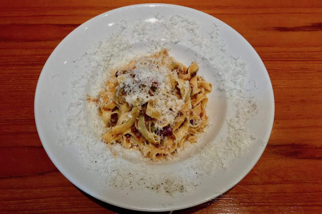 meat sauce pasta at street pasta company