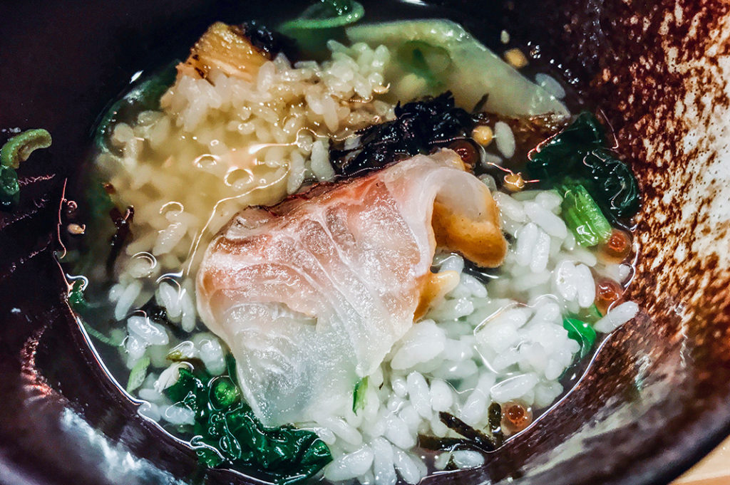 Sea bream with sesame sauce
