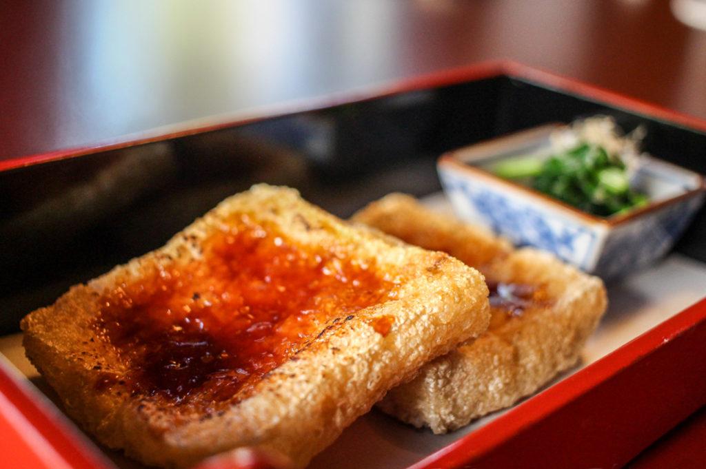 This fried tofu is the star at Tofuya Ukai, nestled beneath Tokyo Tower.