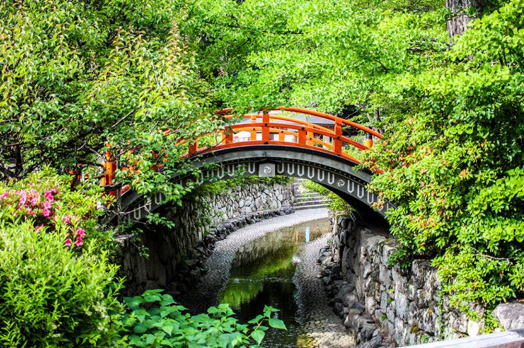 The Taikobashi bridge at Shimogamo Shrine, one of the oldest shrines in Kyoto.