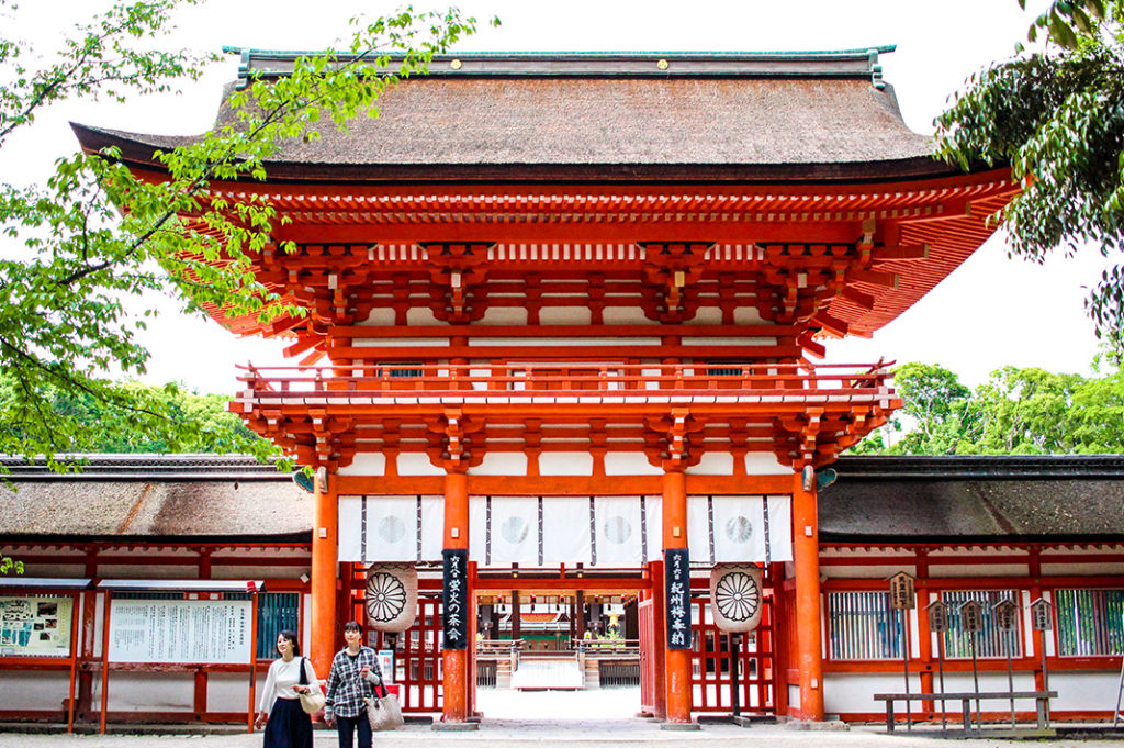The iconic two-storied rōmon gate at Shimogamo Shrine, one of the oldest shrines in Kyoto