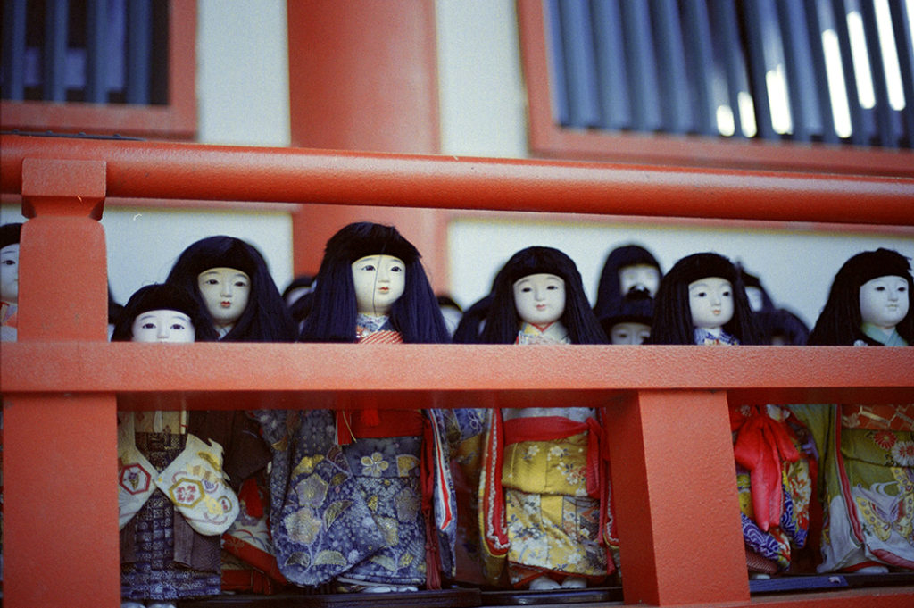Dolls are a regular fixture of Japanese life. These dolls depict young girls and are used during the annual Hina Matsuri.