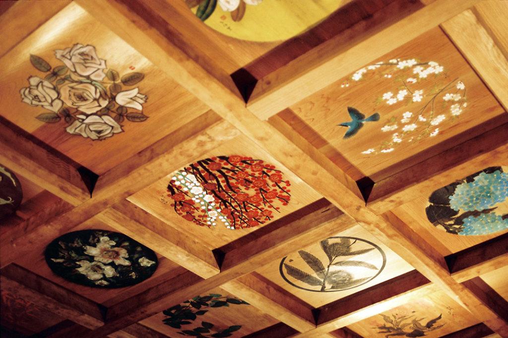 Hand painted ceiling panels inside the hill shrine at Hida Folk Village, Takayama.