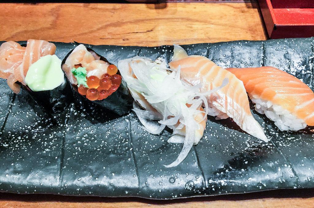 All Salmon 5 Ways platter at Mori Mori Sushi