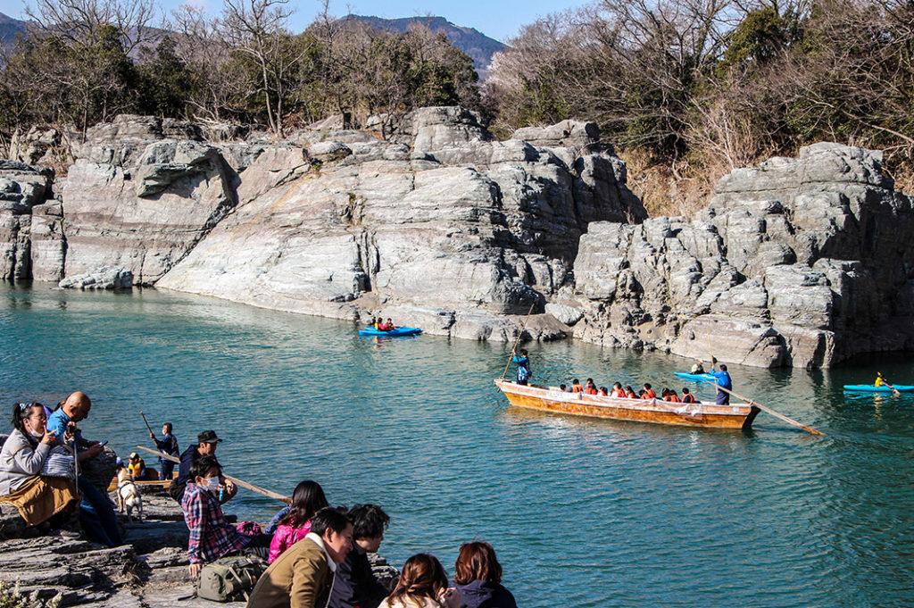 Wooden boats and kayaks on the Arakawa in Nagatoro