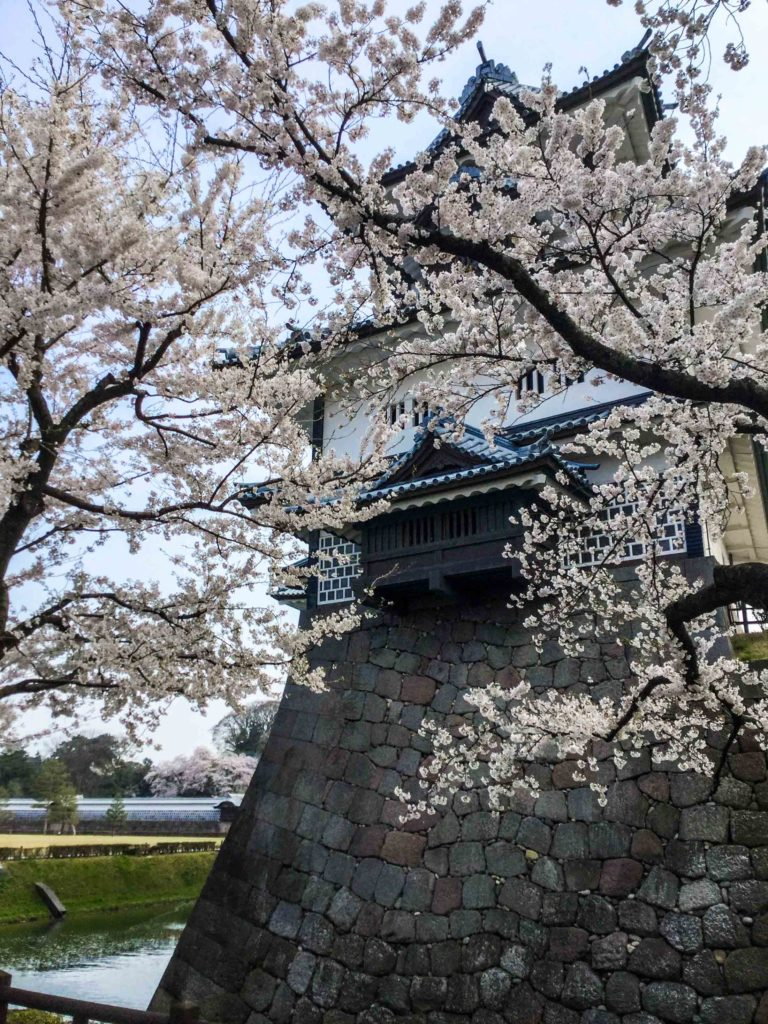 A building of Kanazawa Castle in the spring.