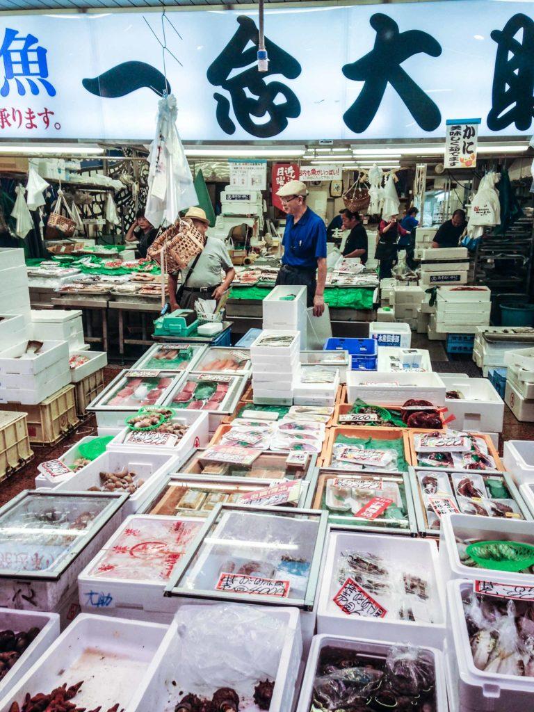 Locals shop in Omicho, a classic fish market in Kanazawa.