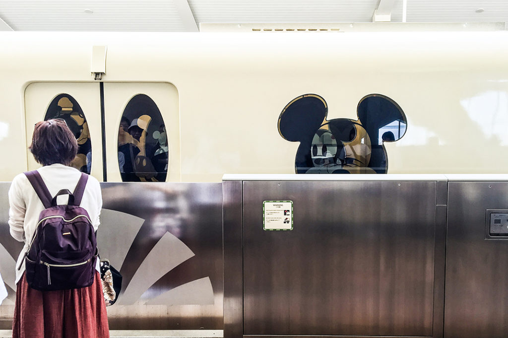 This Mickey themed monorail circles the Tokyo Disney Resort