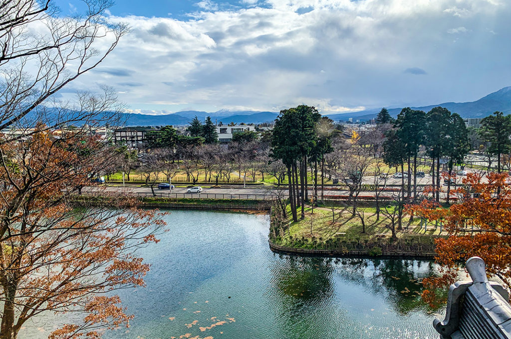 Looking out from Takada Castle's observation deck