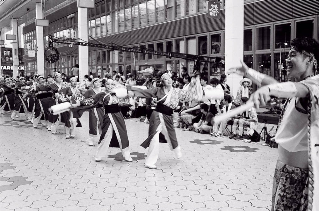 A spirited line of dancers at the Yosakoi festival in Kochi.