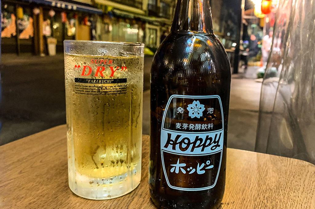 Drinking Hoppy on Hoppy dori, Asakusa