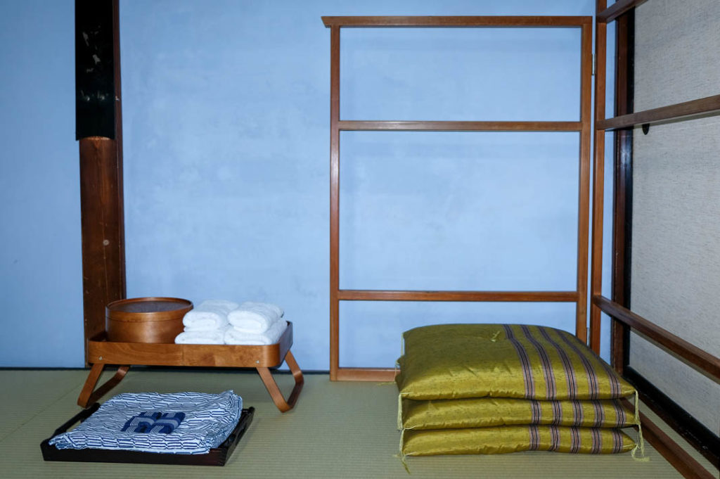 Yukatas and cushions to keep you relaxed and comfortable. Mitakesan accommodation