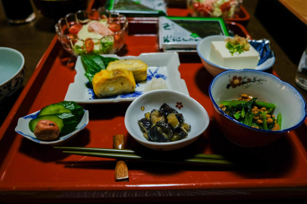Light but filling Japanese breakfast. Mitakesan accommodation