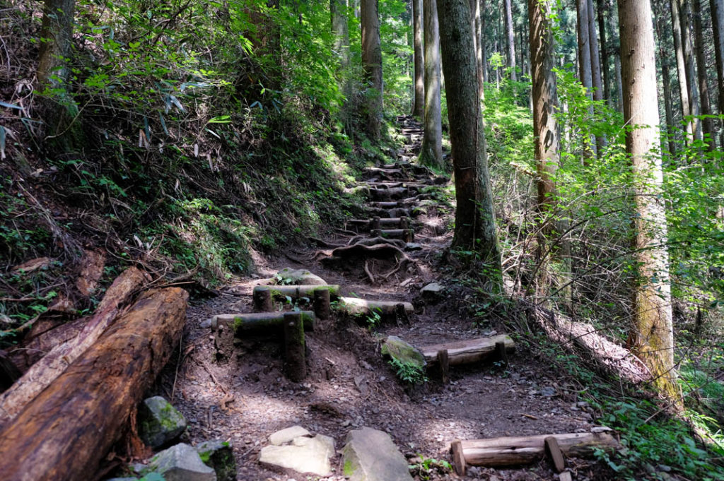 Hiking down steep steps to get to the waterfall.