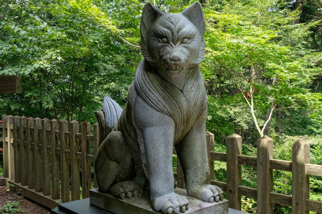 The white wolf at Musahi Mitake Shrine.