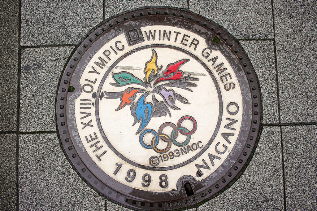 The Olympic Rings on a drain cover
