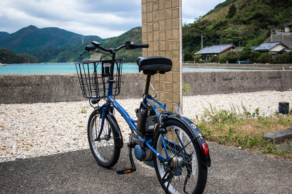 Electric bikes are available for exploring parts of Fukue Island