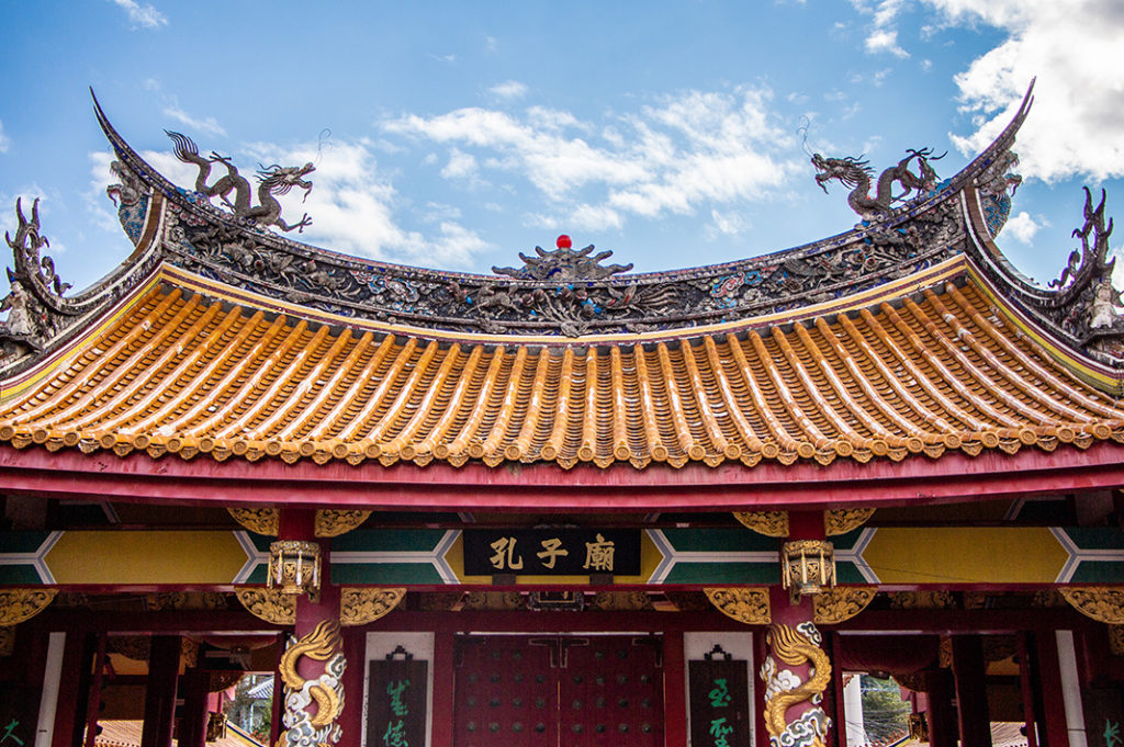 The entrance, stunning with its yellow tiled roof