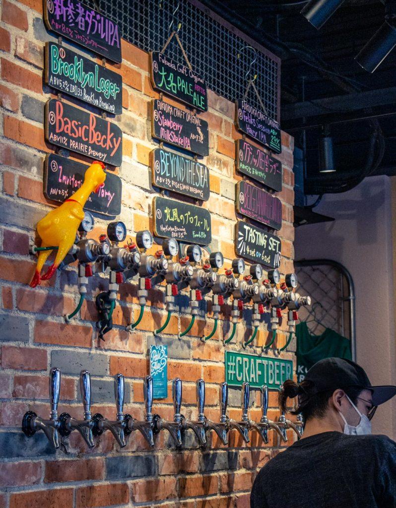 Craft beer taps at Fukuoka craft